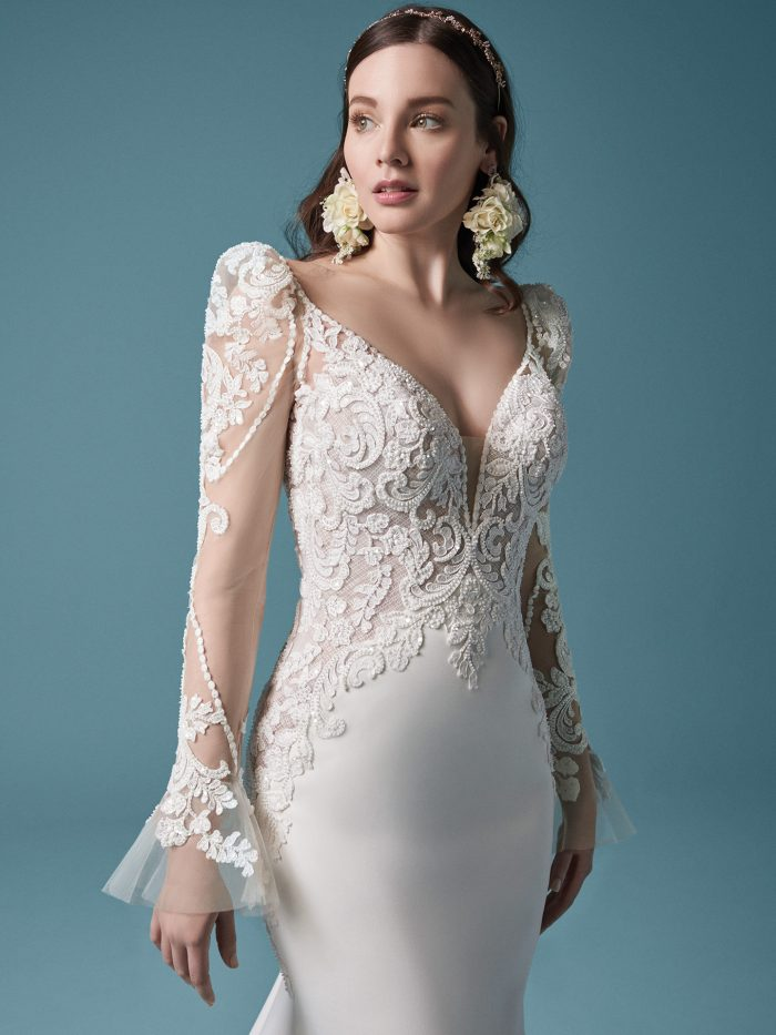 Bride Wearing Lace Puff Sleeve Wedding Dress Called Nikki by Maggie Sottero