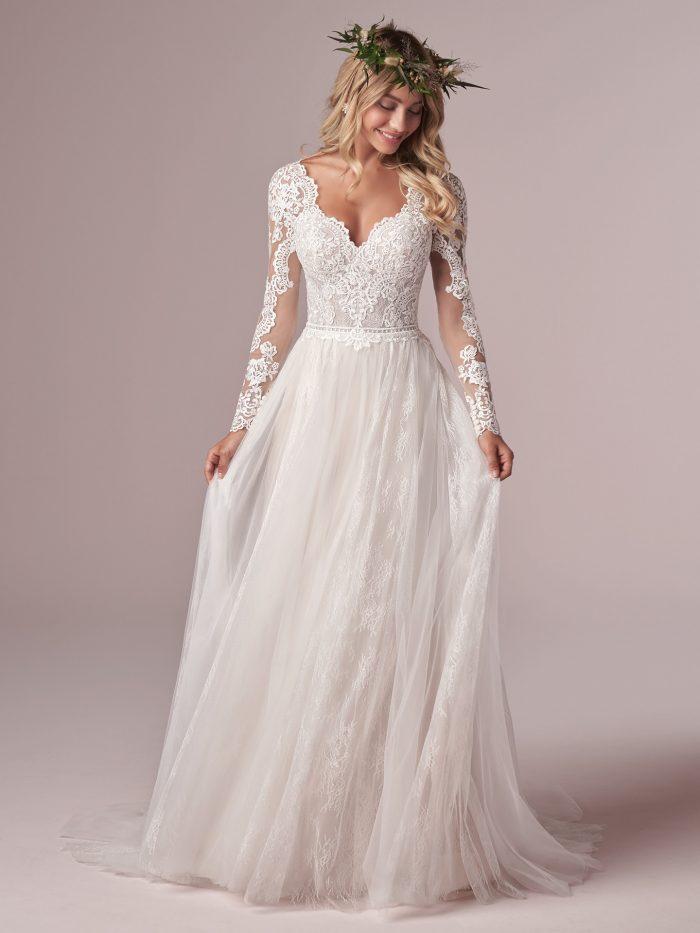 Model Wearing Long Sleeve Boho Lace Wedding Dress