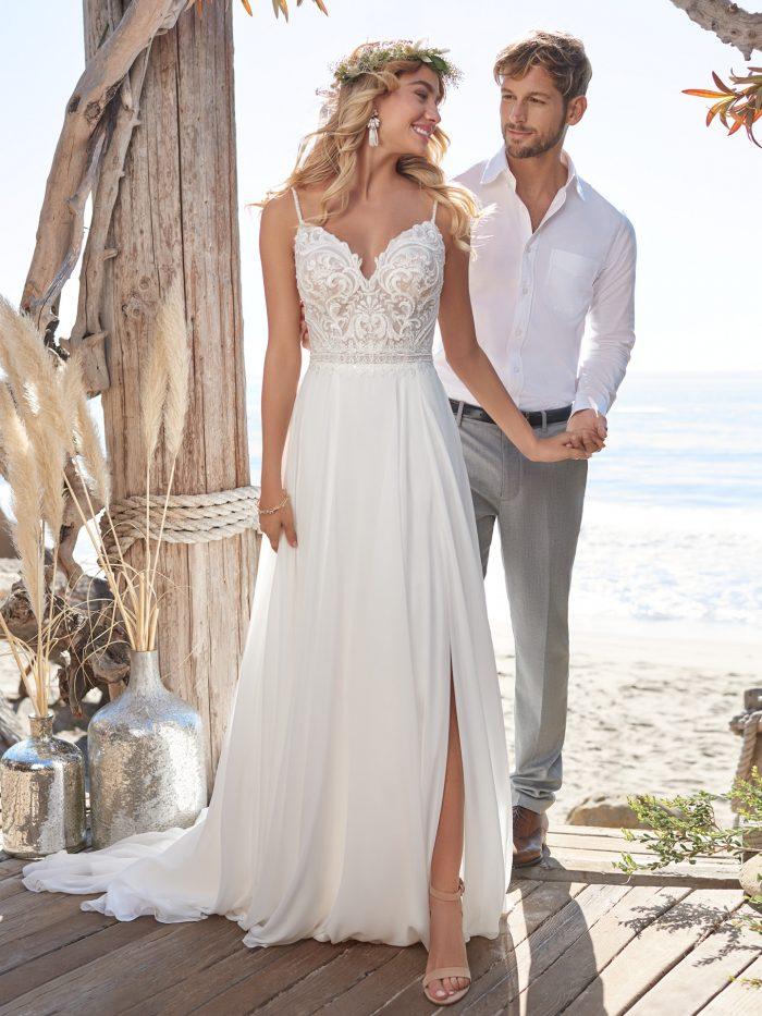 Groom with Bride Wearing Maggie Sottero Wedding Dress Under $1000 Called Lorraine