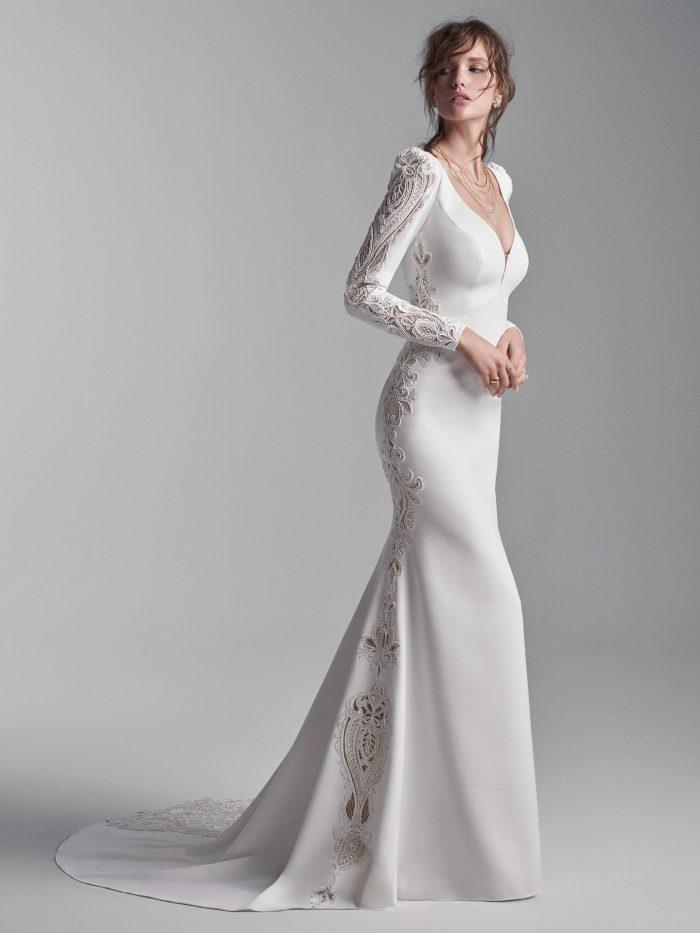 Bride Wearing Long Puff Sleeve Vintage Wedding Gown