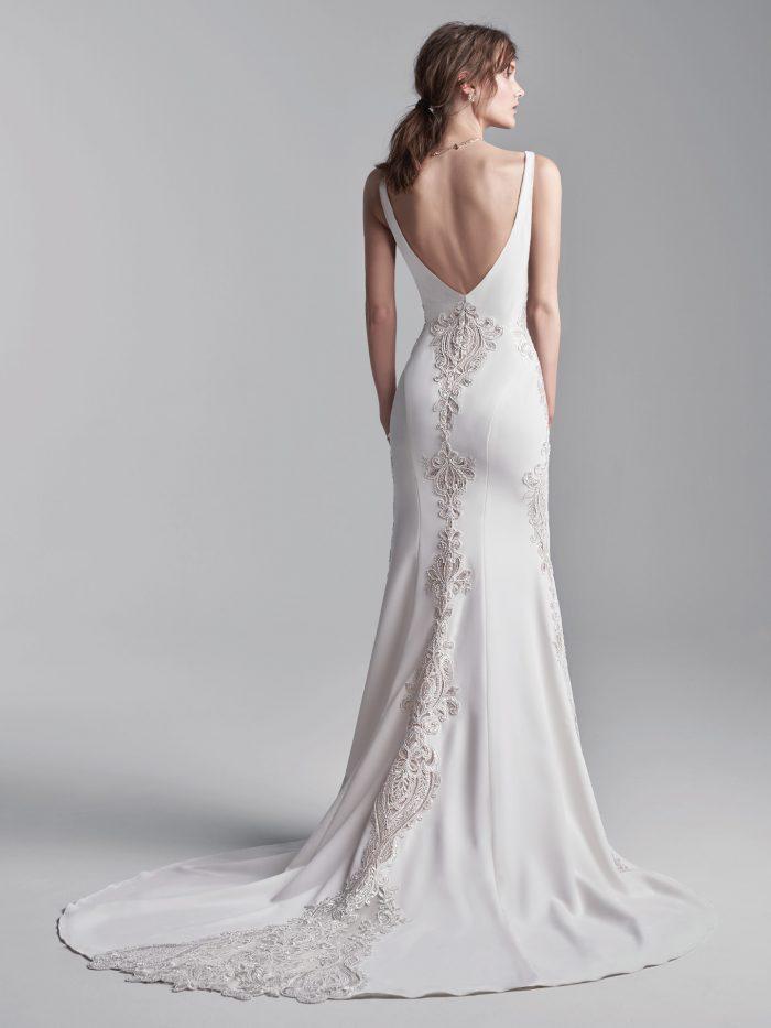 Bride Wearing Sleeveless Vintage Wedding Gown