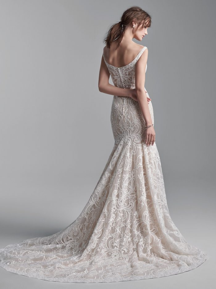 Bride Wearing Beaded Lace Sheath Wedding Dress Called Elias by Sottero and Midgley