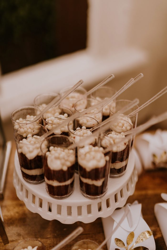 Gourmet Chocolate Pudding Shots Dessert on Stand at Wedding Reception