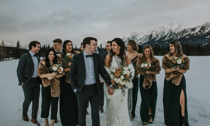 Bride and Groom with Wedding Party in Snow Covered Mountains at Off Season Wedding