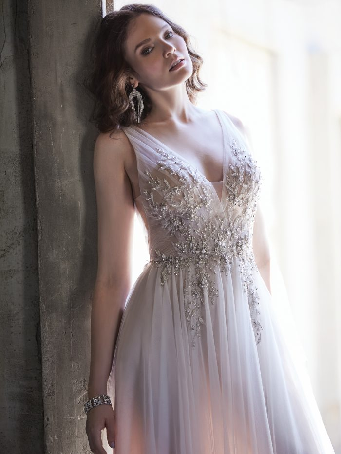 Model Wearing Tulle A-line Wedding dress Called Meletta by Maggie Sottero