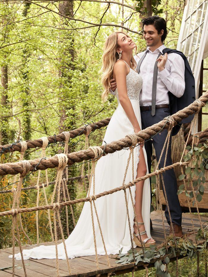 Groom with Bride Wearing A-line Chiffon Beach Wedding Dress Called Nicole by Rebecca Ingram