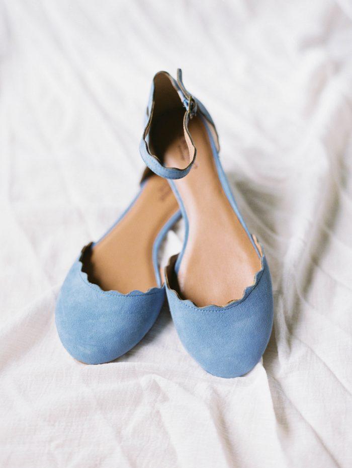 Blue Flat Wedding Shoes at Real Wedding
