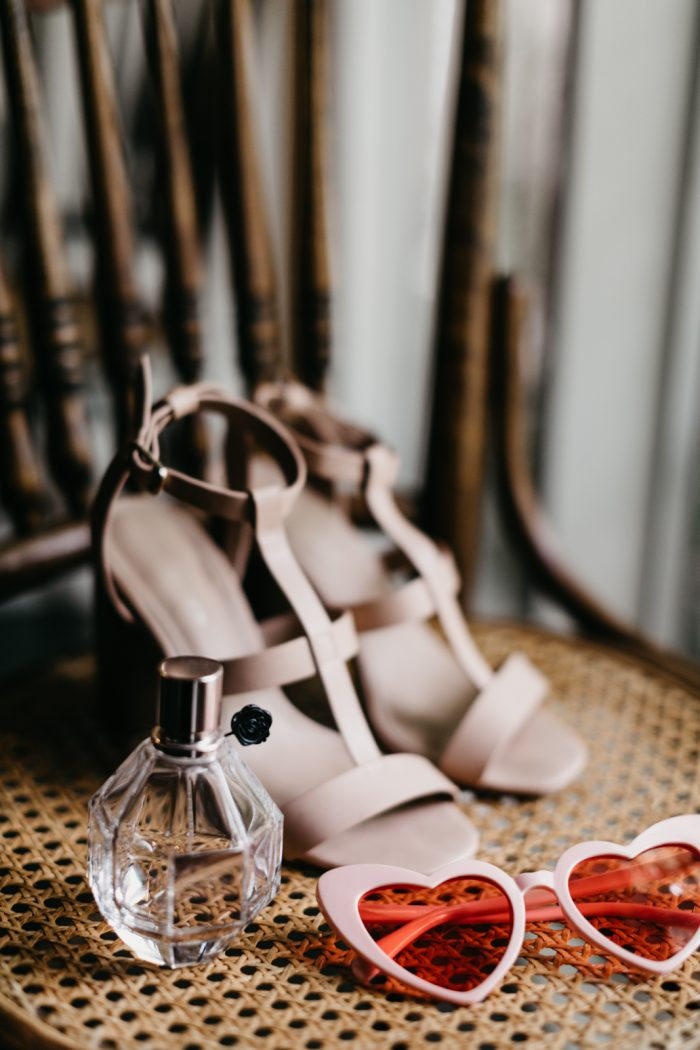Pink Strappy Bridal Shoes Heels with Pink Heart Sunglasses