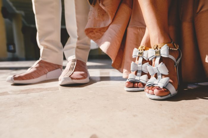 Open Toed Wedding Shoes with Bows