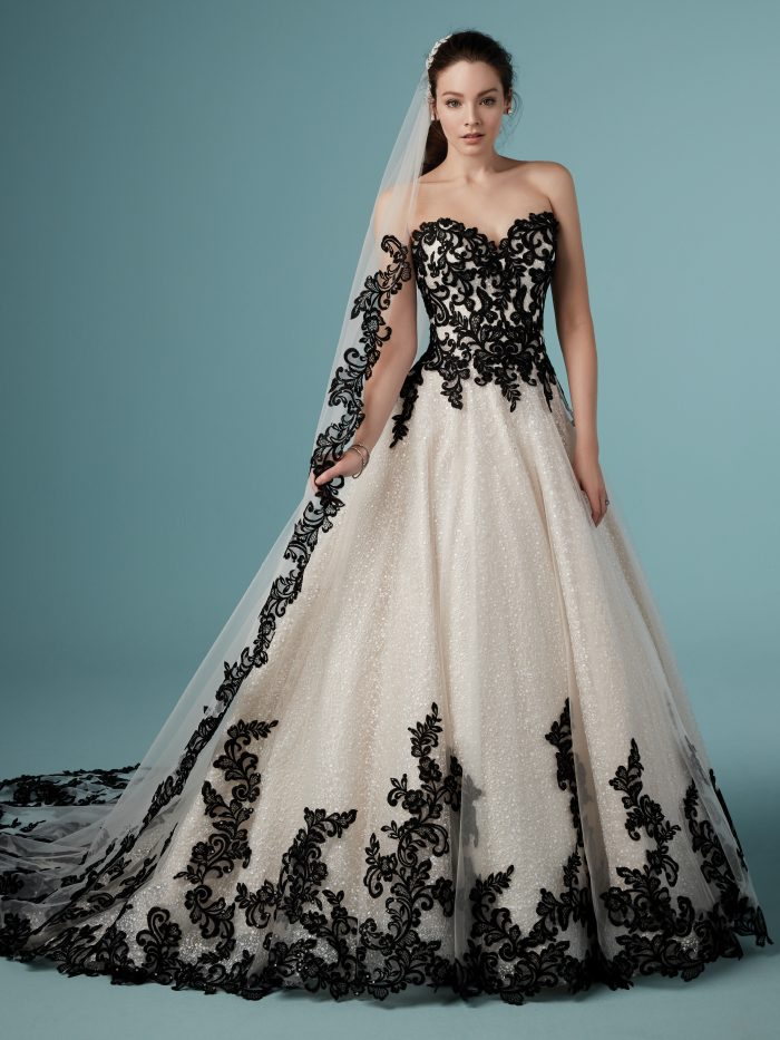 Model Wearing Shimmering Wedding Dress with Black Lace Called Tristyn by Maggie Sottero