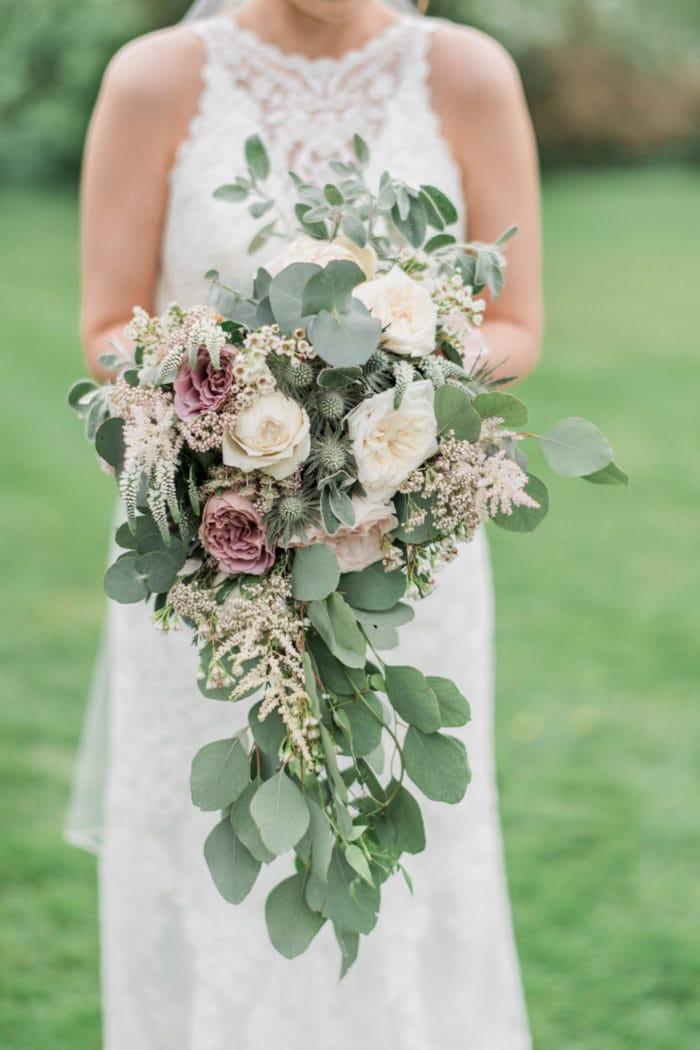 Bride Holding Green Wedding Bouquet