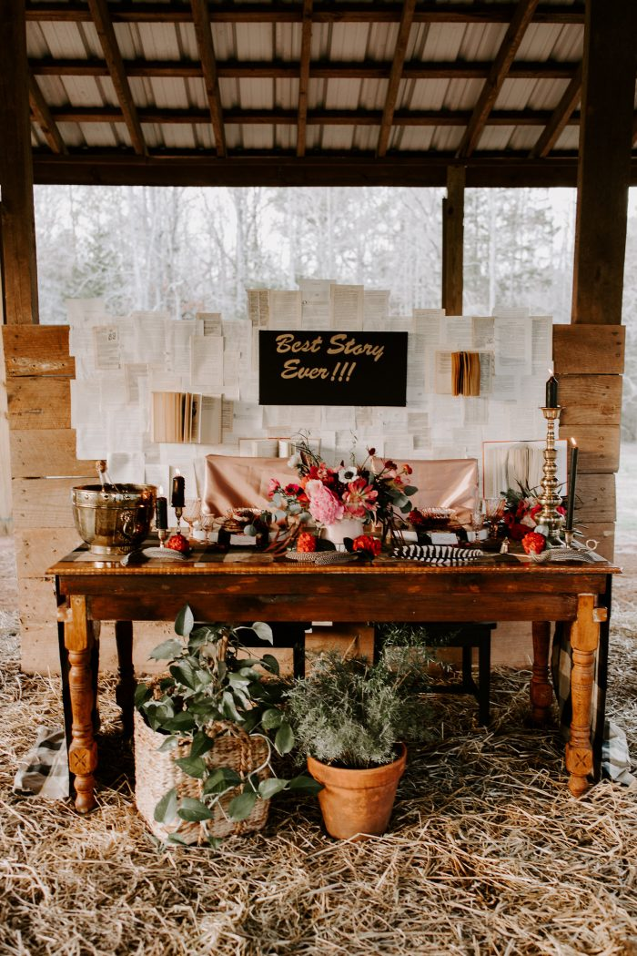 Boho Vintage Dessert Table Set Up for Valentin'es Elopement