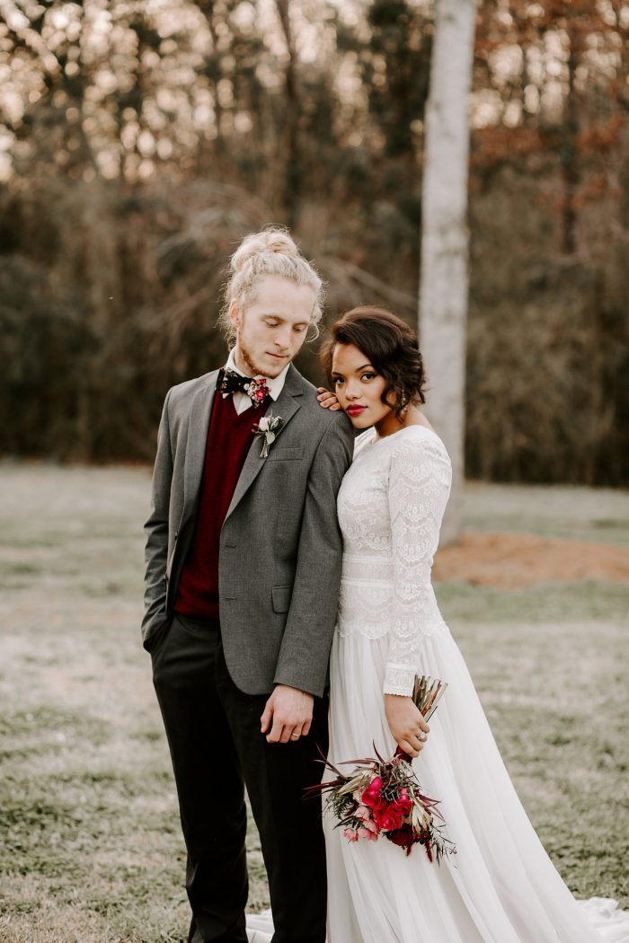 Groom with Real Bride Wearing Sleeved Boho Wedding Dress Called Deirdre Marie by Maggie Sottero