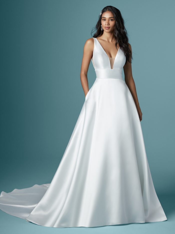 Model Wearing Satin A-line Wedding Gown Called Raven by Maggie Sottero