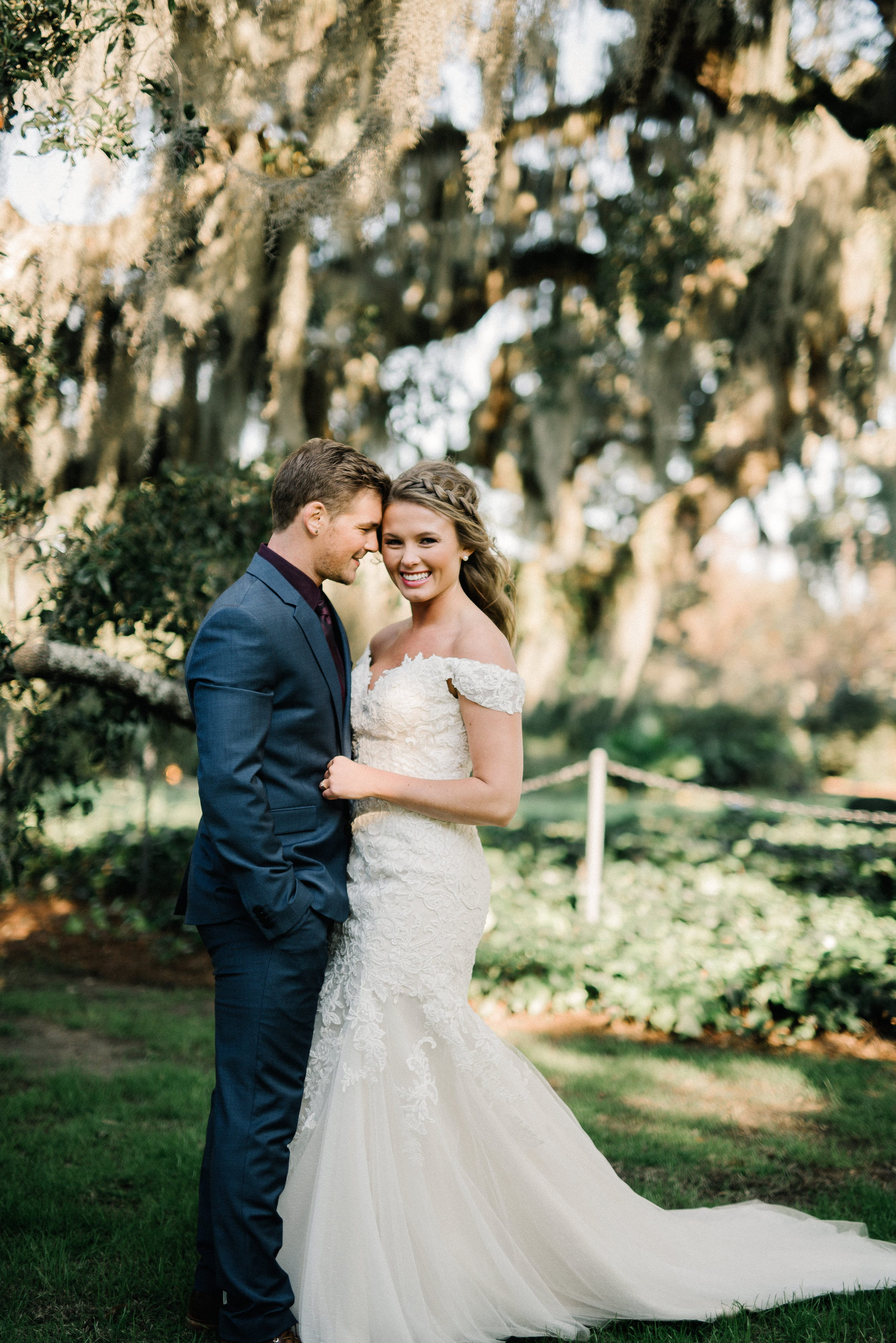 Groom with Real Bride Wearing Wedding Dress Afton by Maggie Sottero