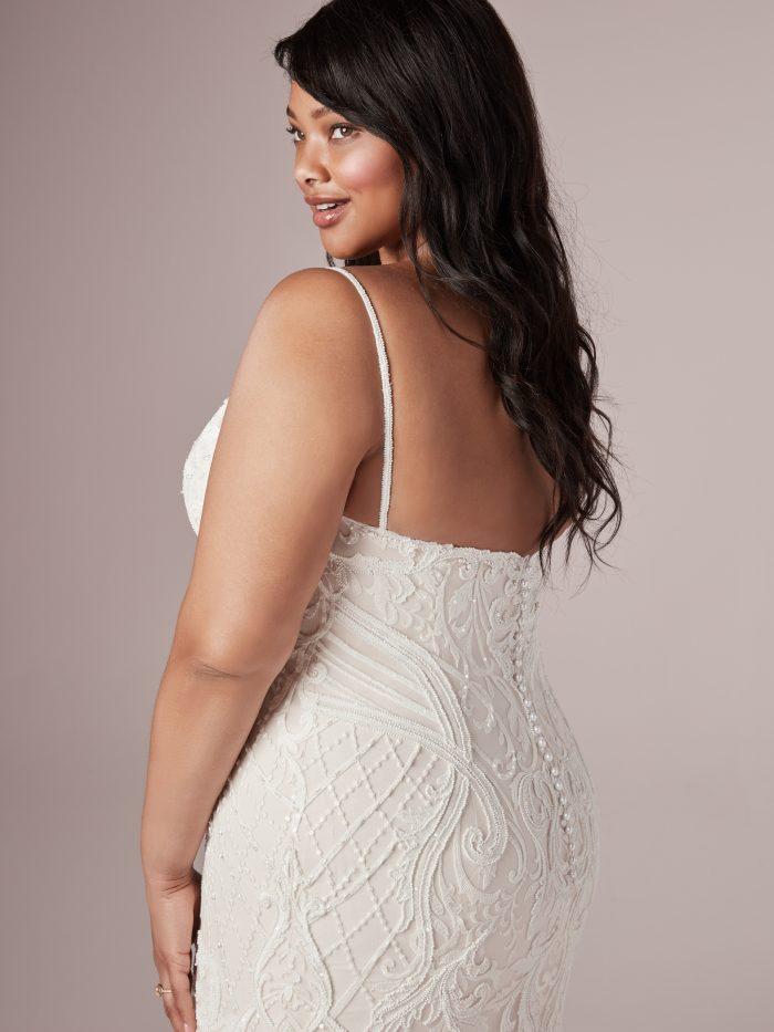Model Wearing Plus Size Mermaid Wedding Gown Called Corrine by Rebecca Ingram
