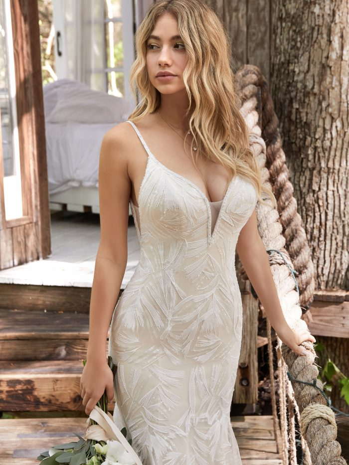 Bride Wearing Sheath Boho Wedding Gown Called Elsie by Rebecca Ingram