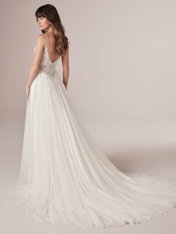 Model Wearing Affordable Boho Wedding Dress Called Greta by Rebecca Ingram