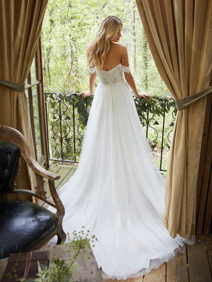 Bride Wearing Off-the-Shoulder Wedding Dress Called Nia by Rebecca Ingram