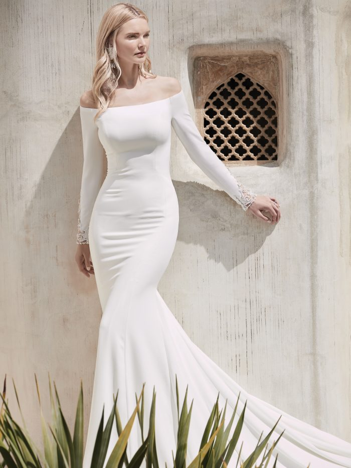 Bride Wearing Off-the-Shoulder Diamond White Wedding Dress Called Admina by Sottero and Midgley