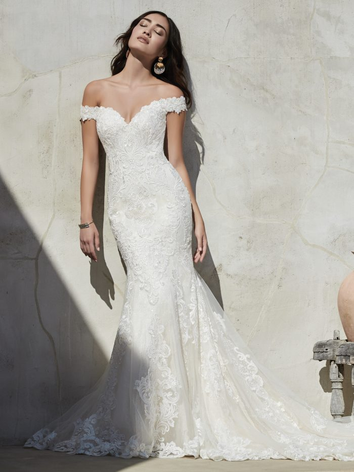Bride Wearing Off-the-Shoulder Pearl Wedding Dress Called Kennedy by Sottero and Midgley