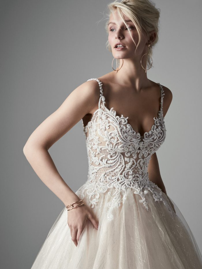 Model Wearing Blush Ball Gown Wedding Dress Called Tate by Sottero and Midgley