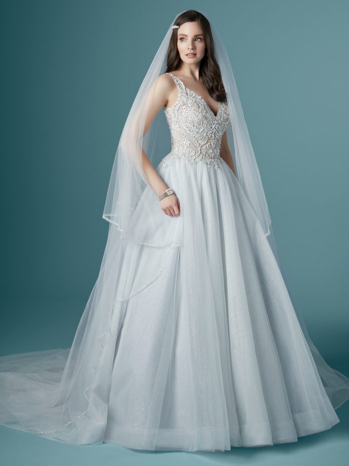 Model Wearing Sparkly Ball Gown Wedding Dress Called Taylor by Maggie Sottero