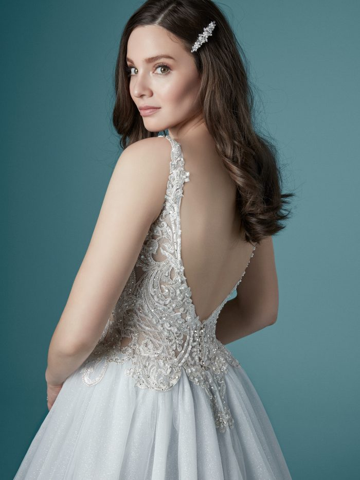 Model Wearing Blue Ball Gown Wedding Dress Called Taylor by Maggie Sottero