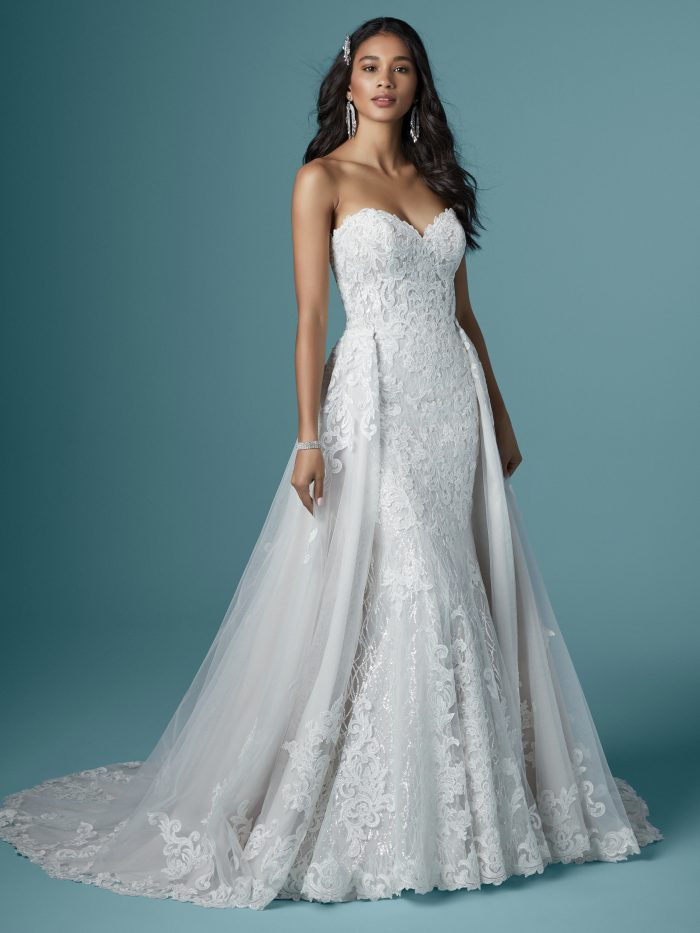 Strapless Lace Mermaid Wedding Dress with Detachable Train Called Kaysen by Maggie Sottero
