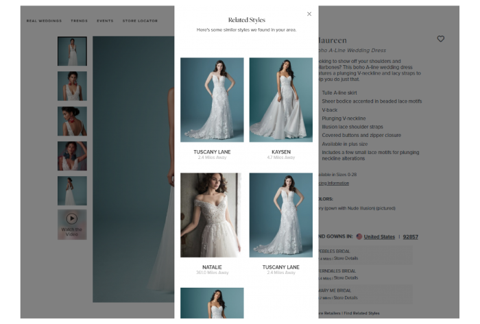 Screenshot of Related Styles of the Maureen Wedding Dress by Maggie Sottero