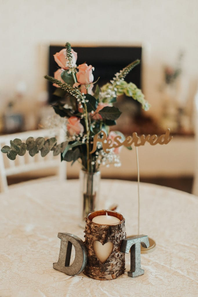 Floral Centerpiece Detail at Real Wedding Reception