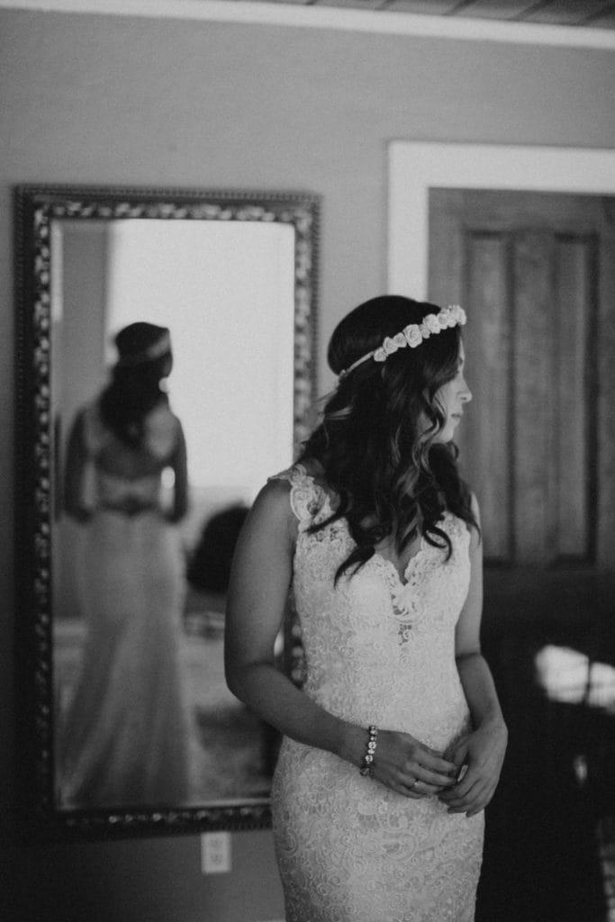 Bride Wearing Flower Crown and Floral Sheath Wedding Dress Called Hope by Rebecca Ingram