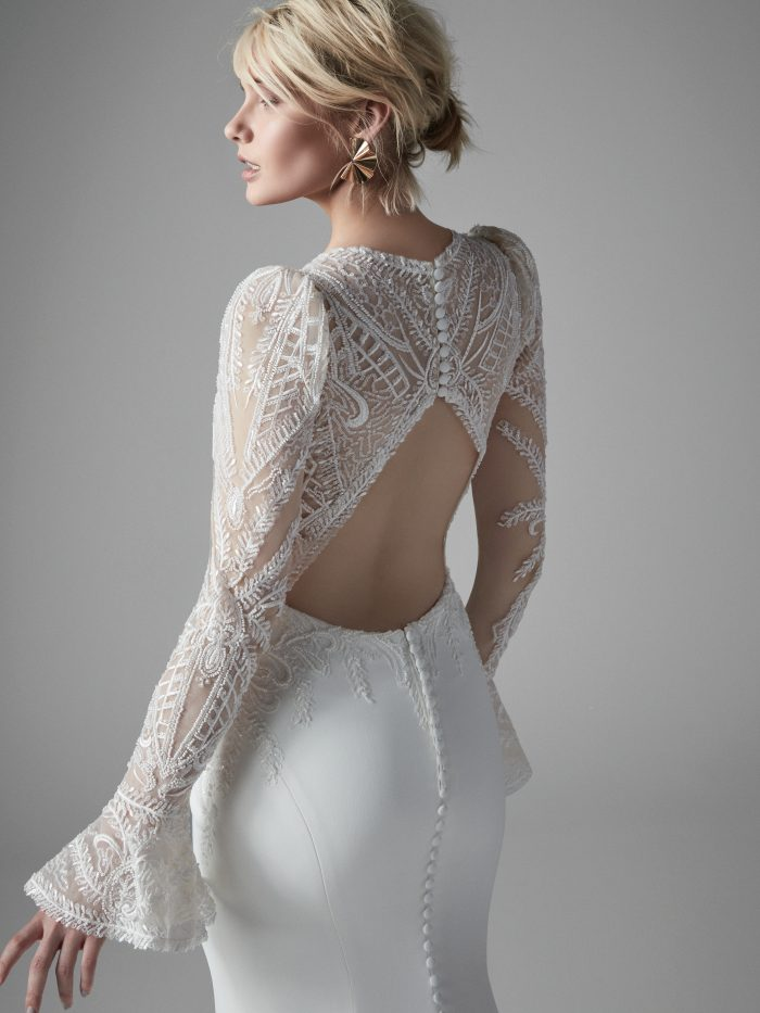 Bride Wearing Keyhole Back Vintage Lace Bridal Gown Called Burton by Sottero and Midgley