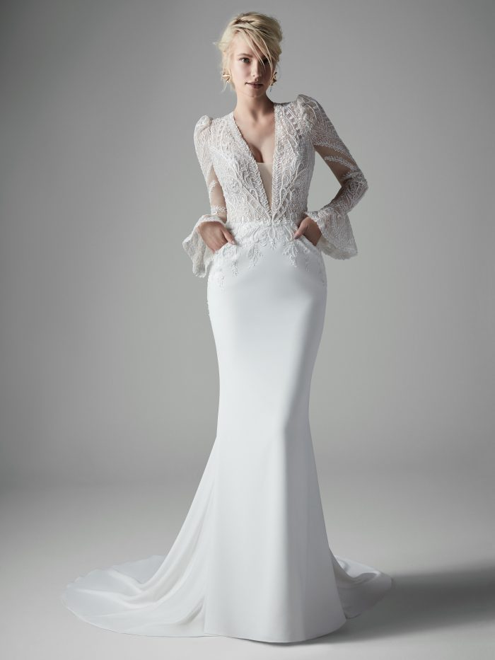 Bride Wearing Long Bell Sleeve Sheath Wedding Gown called Burton by Sottero and Midgley