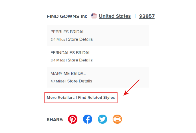 """Screen Shot of Red Arrow Pointing to """"Browse Related Styles"""" on a Web Page"""