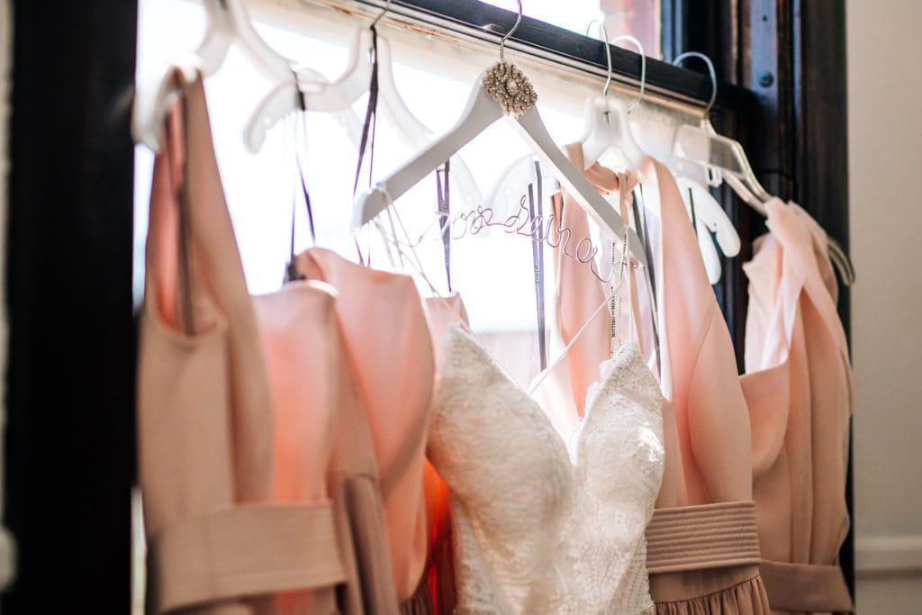 Dress Hanging on Hanger During Virtual Wedding Dress Shopping