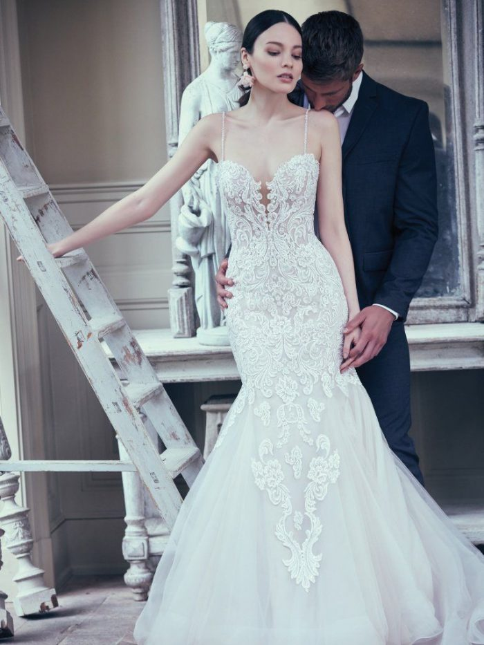 Groom with Bride Wearing Sexy Lace Blush Wedding Dress Called Alistaire by Maggie Sottero