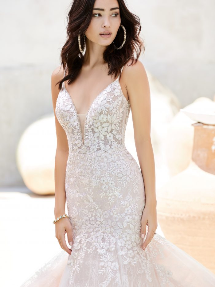 Model Wearing Sparkly Floral Mermaid Wedding Dress Called Inga by Sottero and Midgley