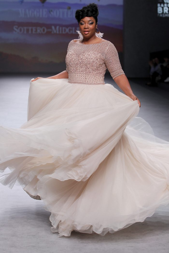 Bride Wearing Plus-Size Vintage Ball Gown Wedding Dress Called Allen Lynette by Sottero and Midgley