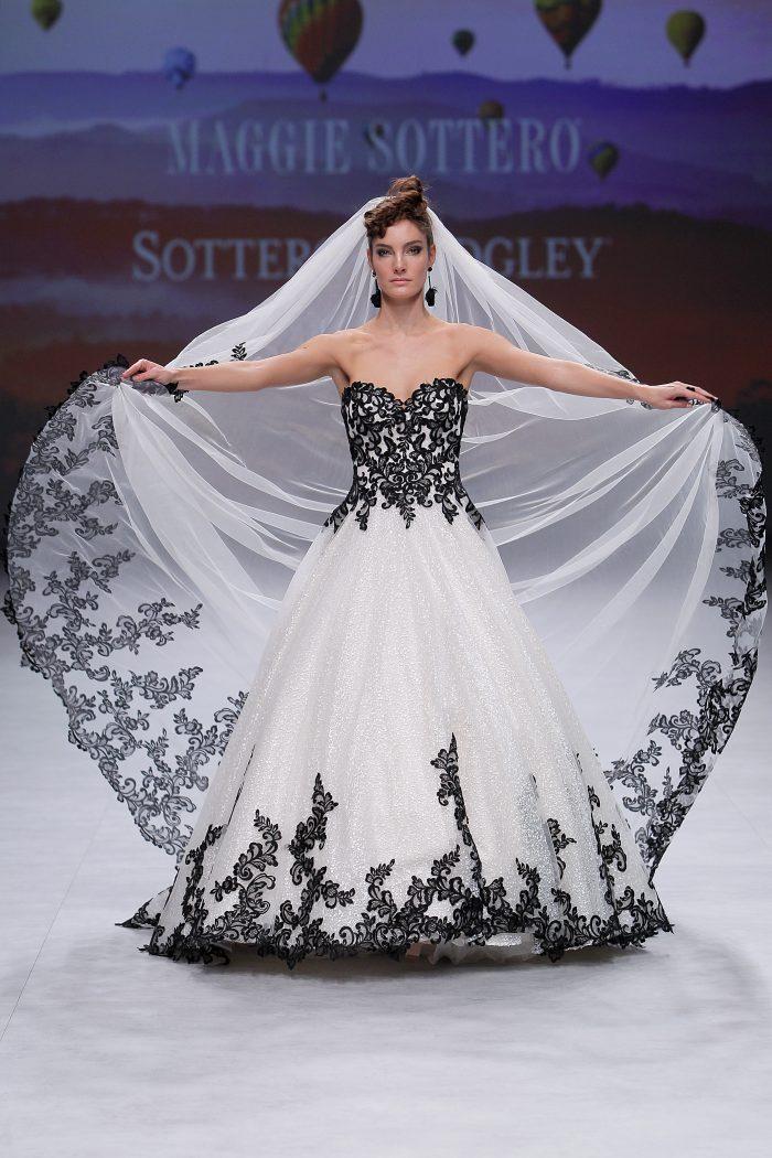 Tristyn Black Lace Ballgown Wedding Dress on the Runway