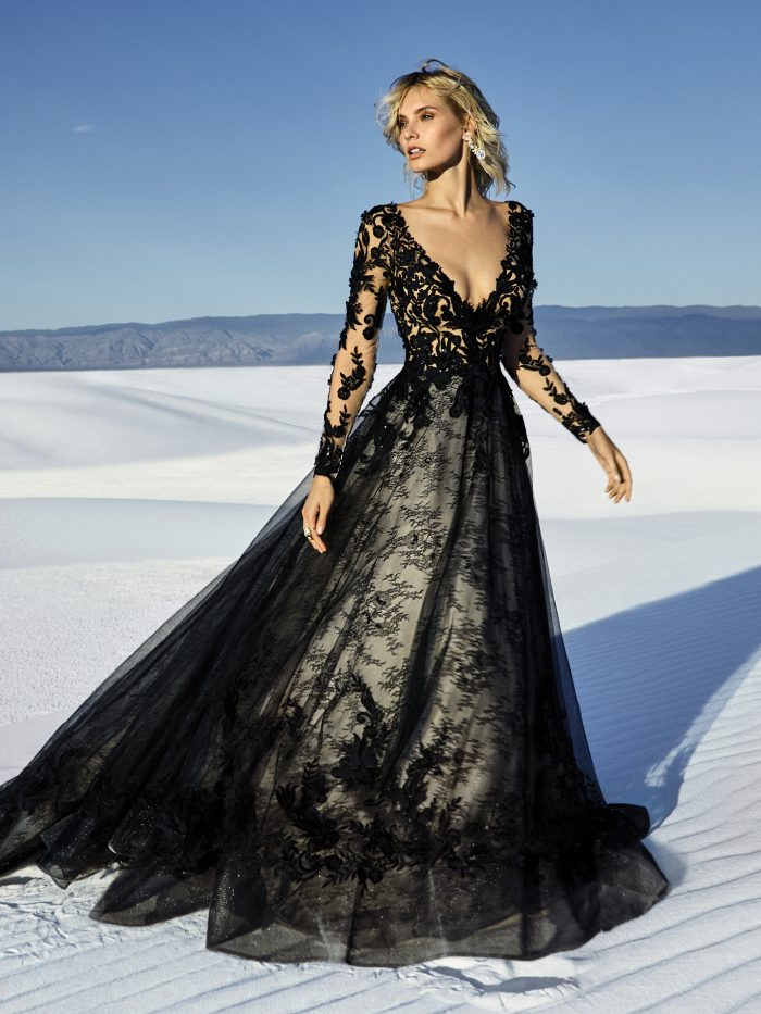 Zander Black Lace Ballgown Wedding Dress on the Rooftops