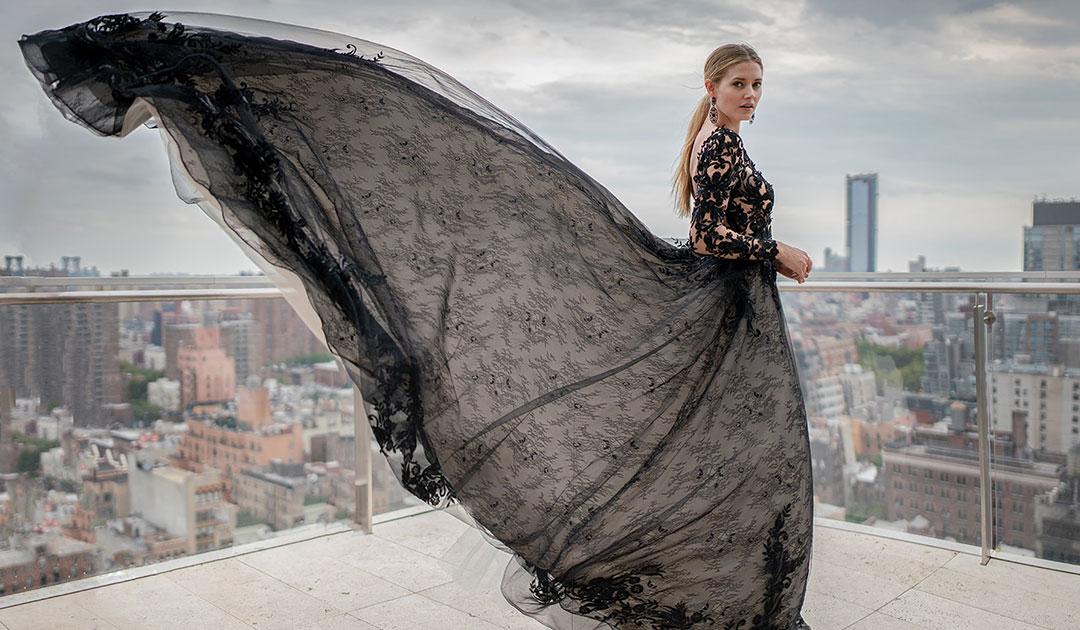 Zander Black Lace Aline Wedding Dress on the Rooftops