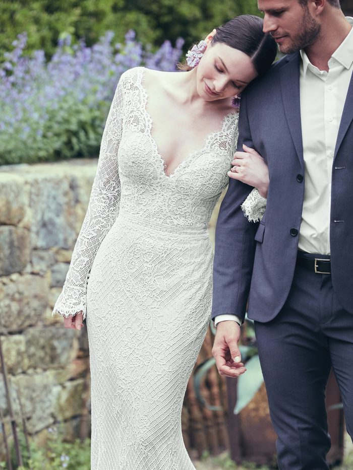 Groom with Bride Wearing Vintage Lace Sheath Wedding Gown Called Antonia by Maggie Sottero