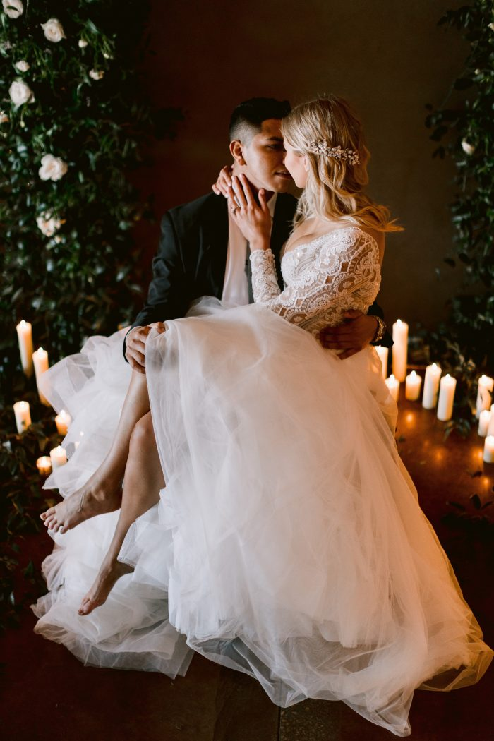 Real Bride Wearing Long Sleeve Lace Scallop Wedding Gown Called Mallory Dawn by Maggie Sottero