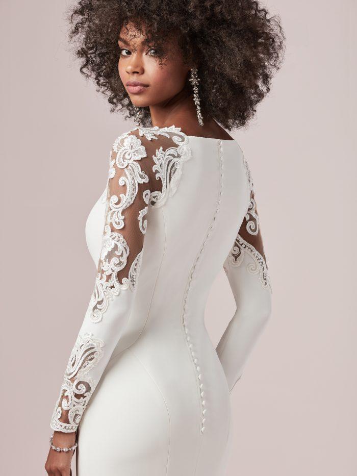 Bride Wearing Illusion Long Sleeve Crepe Wedding Dress Called Bethany by Rebecca Ingram