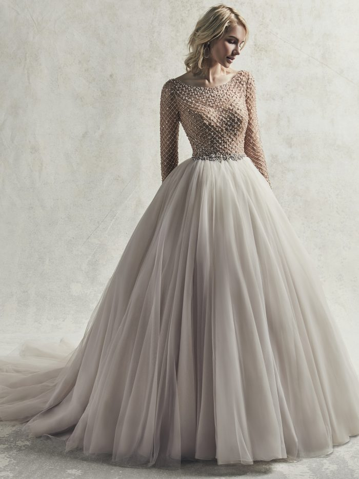 Model Wearing Beaded Long Sleeve Ball Gown Wedding Dress Called Fitzgerald by Sottero and Midgley