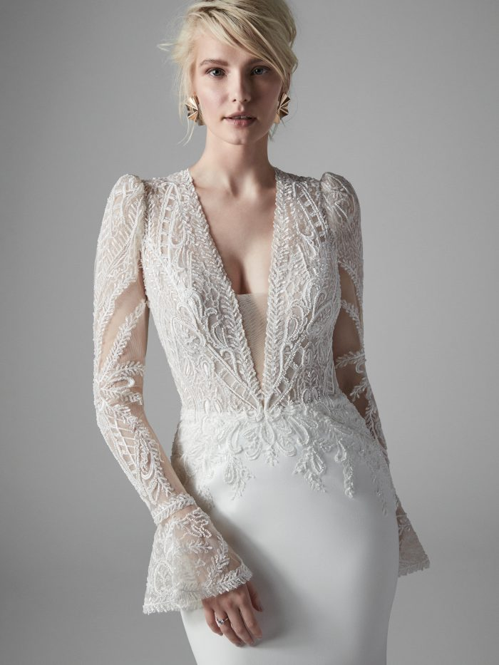 Bride Wearing Vintage Lace and Crepe Bridal Gown Called Burton by Sottero and Midgley