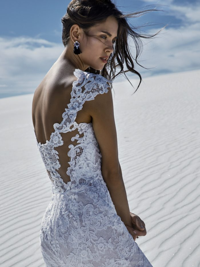 Bride on Salt Flats Wearing Chauncey Lace Fit-and-Flare Wedding Dress by Sottero and Midgley