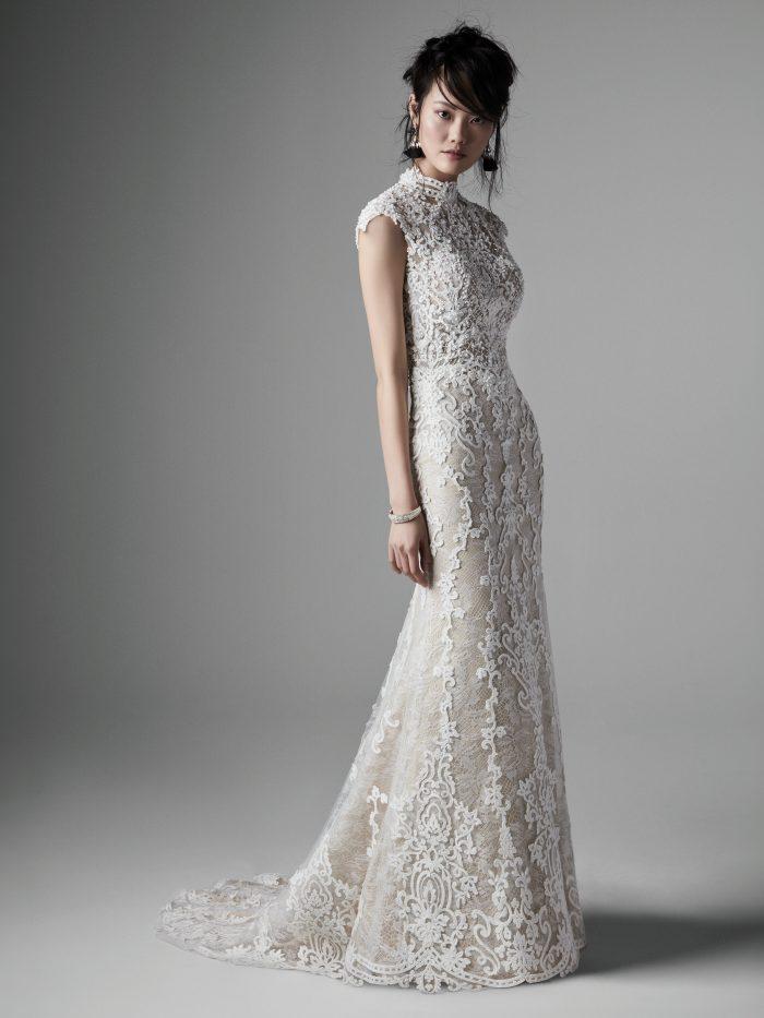Bride Wearing Elegant Vintage Lace Wedding Dress Called Zinnia by Sottero and Midgley