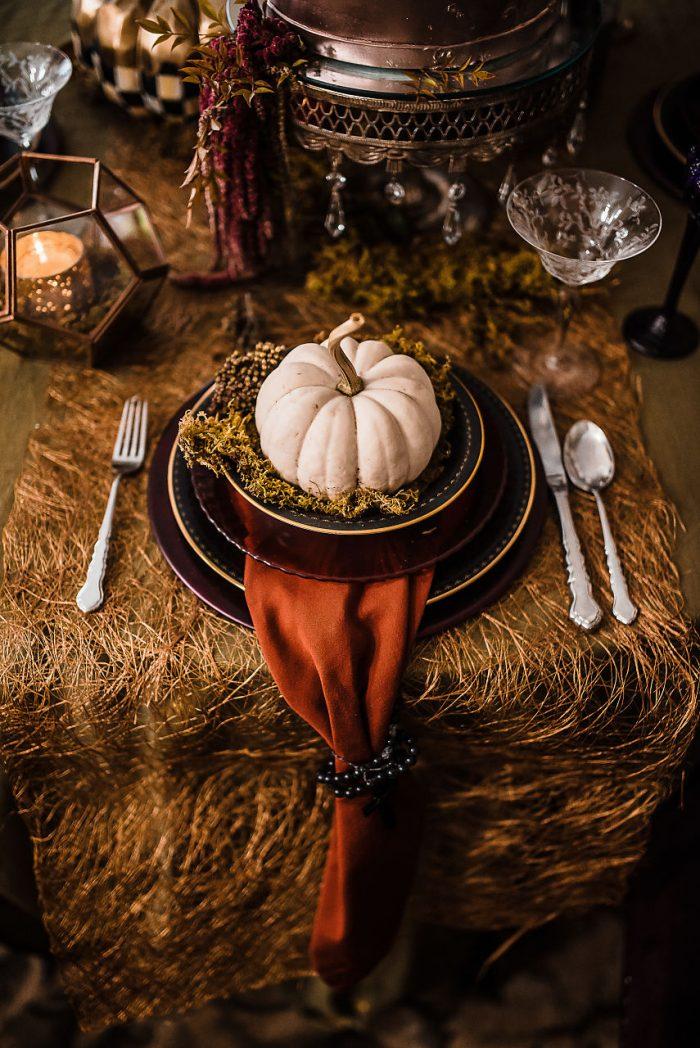 Pumpkin on a Plate Halloween Table Setting